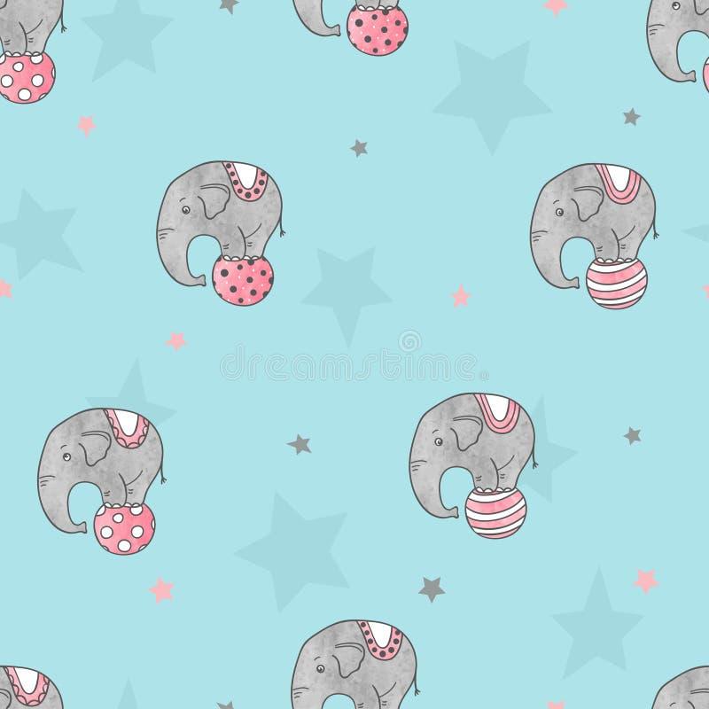 Bezszwowy wzór z ślicznymi akwarela cyrka słoniami royalty ilustracja