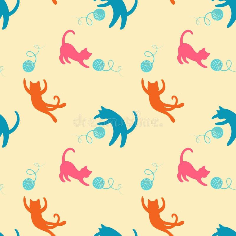Bezszwowy wzór z ślicznymi bawić się kotami royalty ilustracja