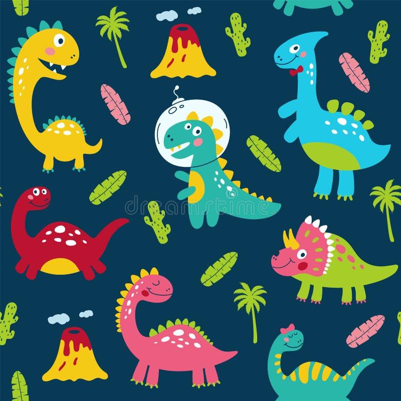 Bezszwowy wzór z ślicznymi dinosaurami dla dziecko druku ilustracji