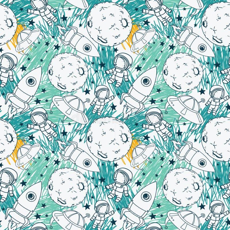 Bezszwowy wzór z ślicznymi doodle astronauta, planetami, rakietami i gwiazdami, royalty ilustracja