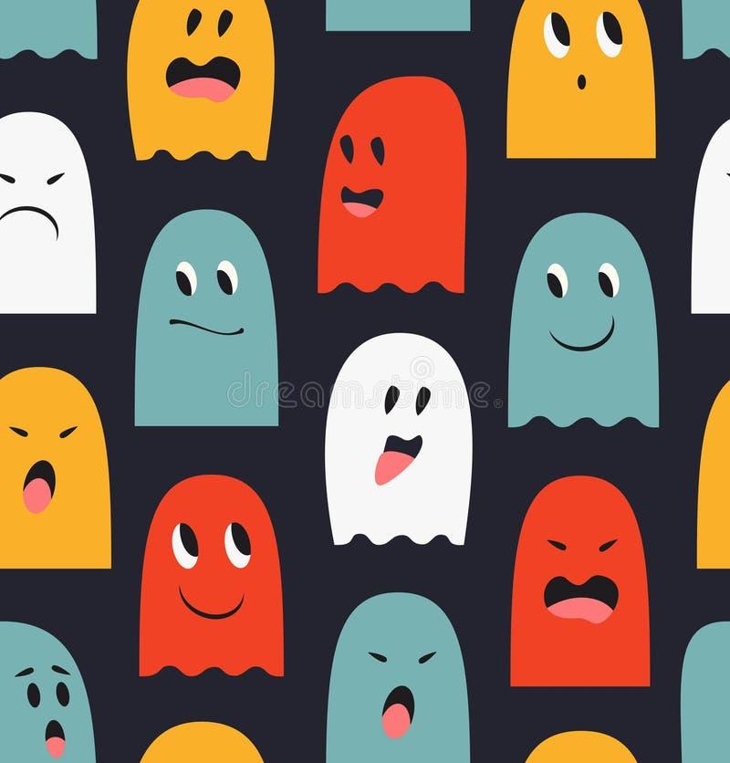 Bezszwowy wzór z ślicznymi duchami Widma tło Halloweenowa śmieszna tekstura royalty ilustracja