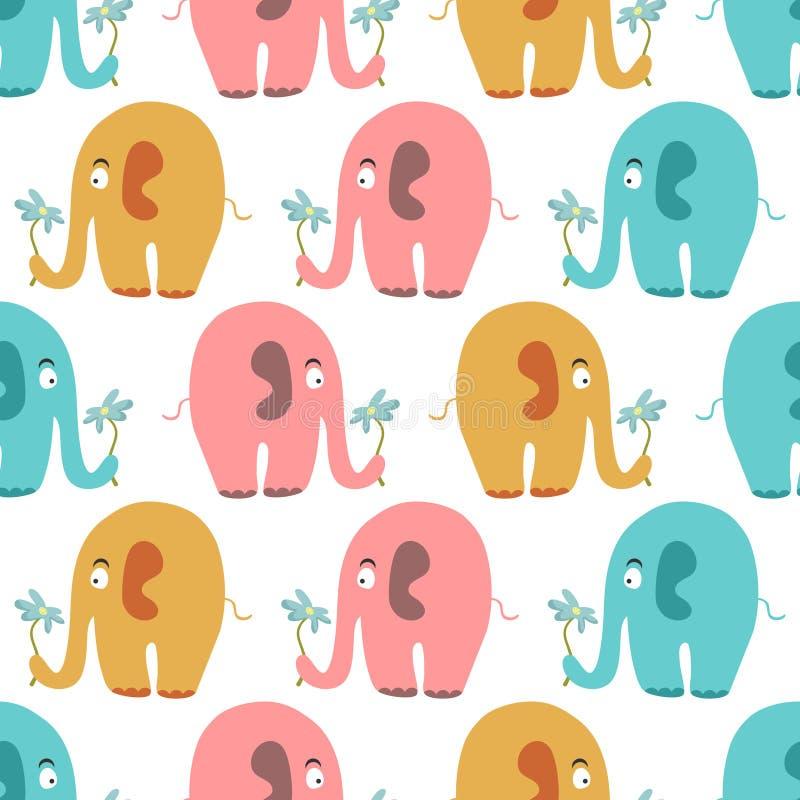 Bezszwowy wzór z ślicznymi kolorowymi słoniami ilustracja wektor