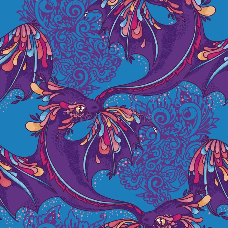 Bezszwowy wzór z ślicznymi kolorowymi smokami royalty ilustracja