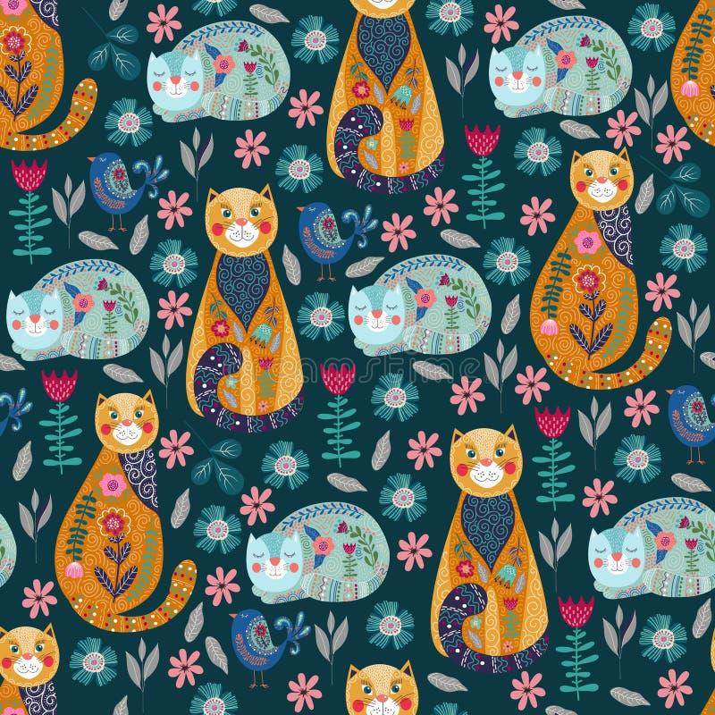 Bezszwowy wzór z ślicznymi kotami, ptaki, kwiaty i liście na ciemnym tle, wektor ilustracji