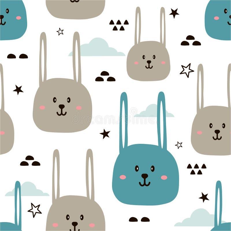 Bezszwowy wzór z ślicznymi królikami ilustracji