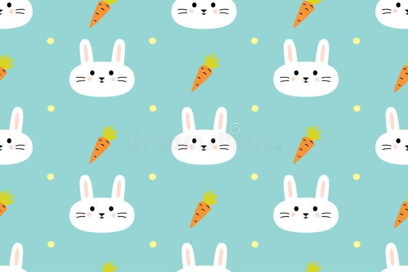 Bezszwowy wzór z ślicznymi królikami i marchewkami zdjęcia royalty free