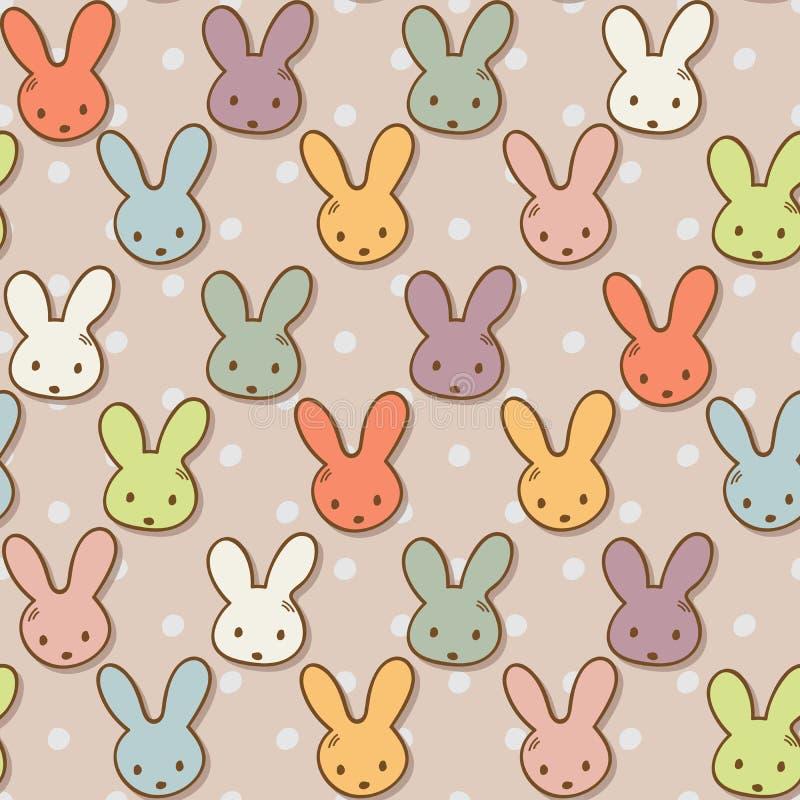 Bezszwowy wzór z ślicznymi królikami Kolorowy królika tło royalty ilustracja