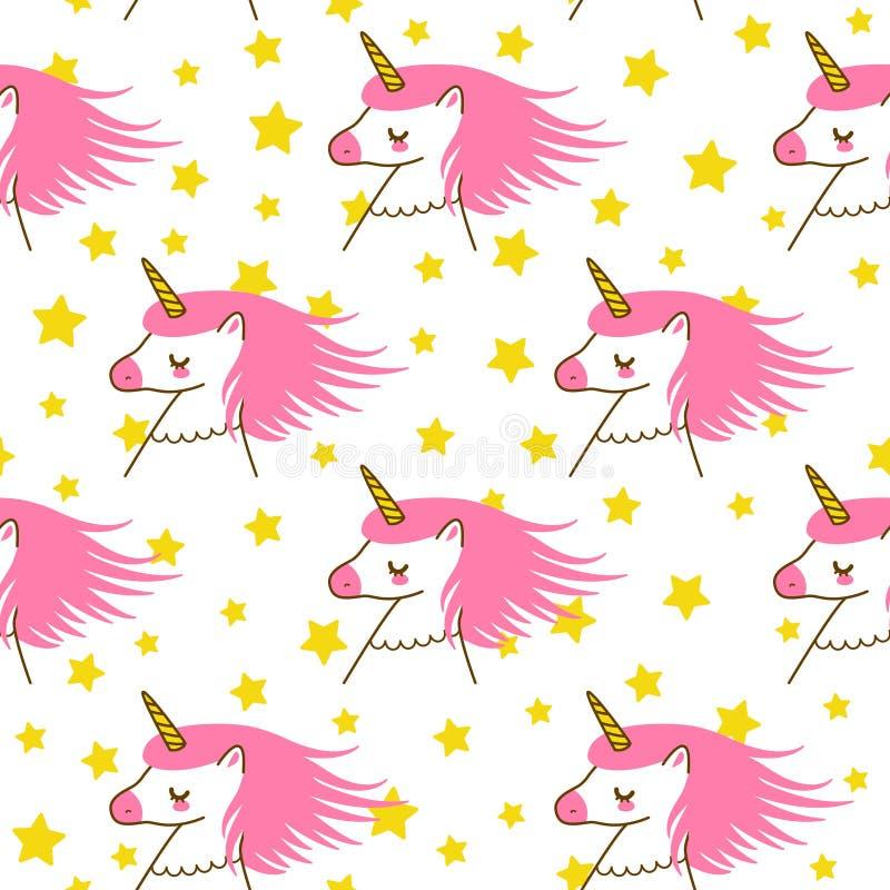 Bezszwowy wzór z ślicznymi kreskówek jednorożec, gwiazdami dla Twój magicznego projekta i ilustracja wektor