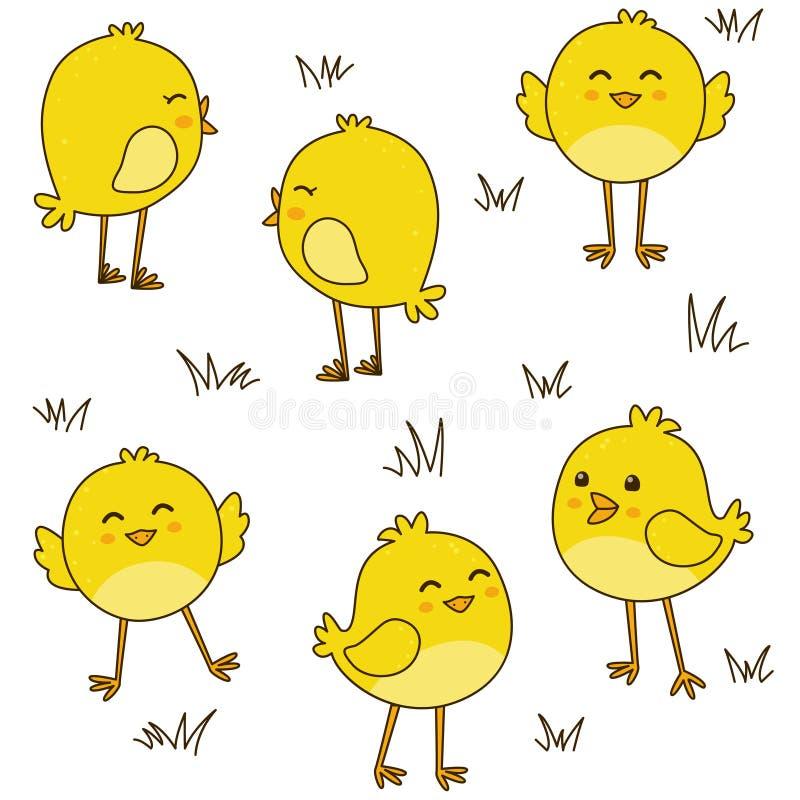 Bezszwowy wzór z ślicznymi kurczakami ilustracja wektor