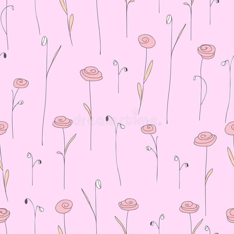 Bezszwowy wzór z ślicznymi kwiatami Światło - różowy tło z stylizowanymi różami ilustracja wektor