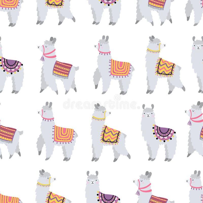 Bezszwowy wzór z ślicznymi lamas ilustracji