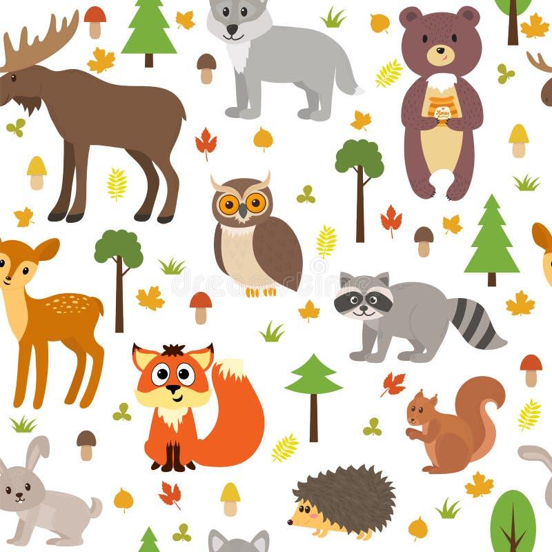 Bezszwowy wzór z ślicznymi lasowymi zwierzętami, pieczarki, liście i ilustracja wektor
