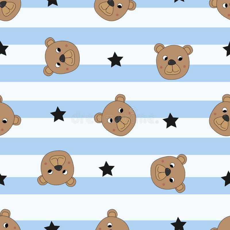 Bezszwowy wzór z ślicznymi niedźwiedziami royalty ilustracja