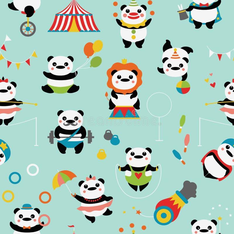 Bezszwowy wzór z ślicznymi pandami: cyrkowi błazeny, jugglers, magik, akrobata ilustracji