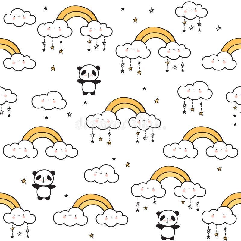 Bezszwowy wzór z ślicznymi pandami, złociste tęcze, śmieszne chmury ilustracji
