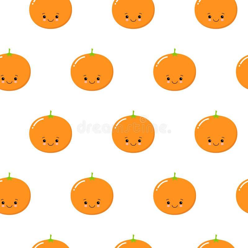 Bezszwowy wzór z Ślicznymi pomarańczami Owocowymi Świeży tło z Stylizowanymi cytrus owoc i Zielonymi płatkami Kawaii royalty ilustracja