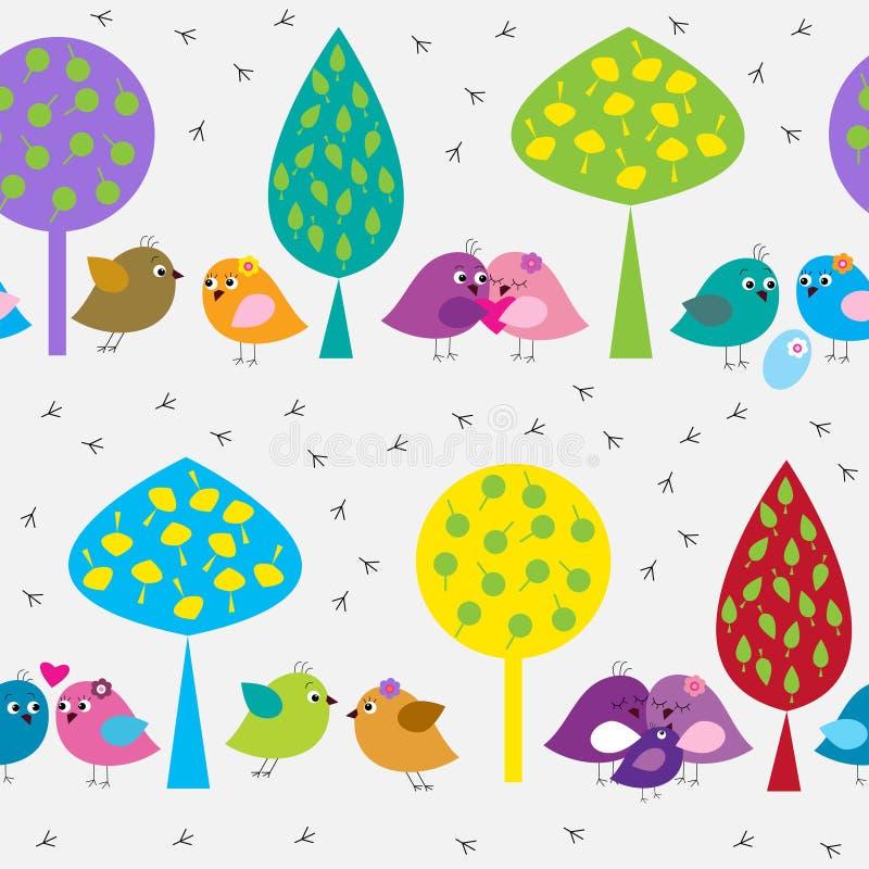 Bezszwowy wzór z ślicznymi ptakami w lesie royalty ilustracja