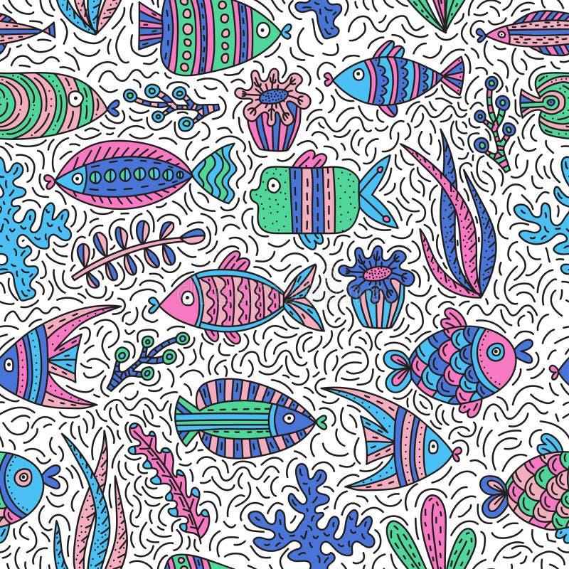 Bezszwowy wzór z ślicznymi ryba i gałęzatkami ilustracja wektor