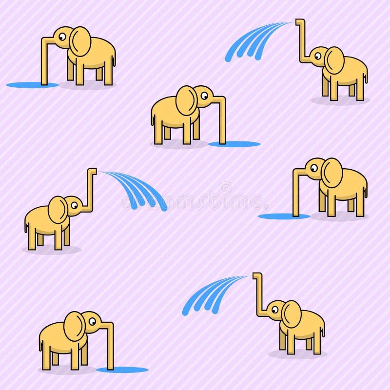 Bezszwowy wzór z ślicznymi słoniami royalty ilustracja