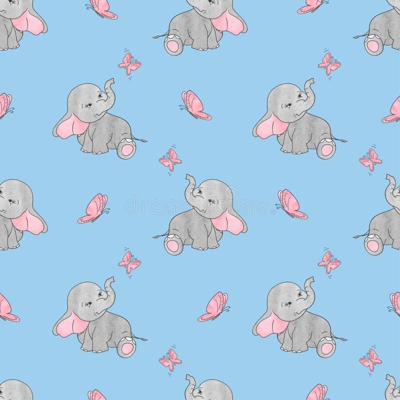 Bezszwowy wzór z ślicznymi słoniami i motylami na błękicie ilustracja wektor