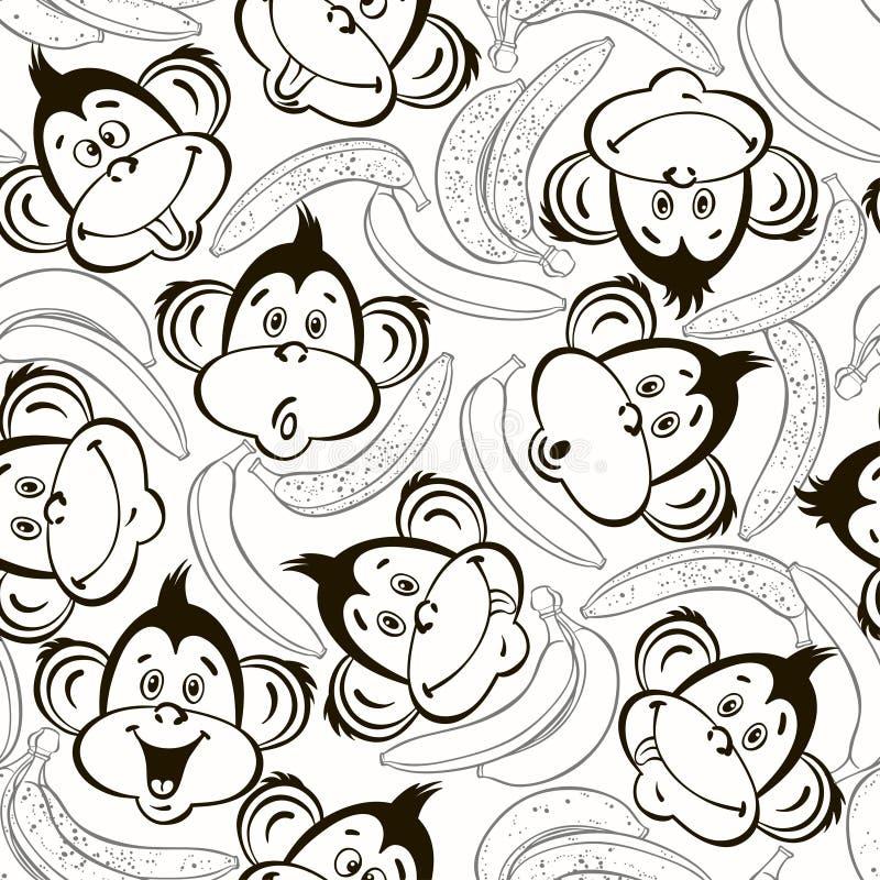 Bezszwowy wzór z ślicznymi twarzami małpy i banany Żartuje mo ilustracja wektor