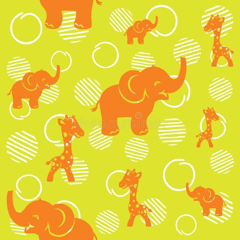 Bezszwowy wzór z śmieszną żyrafą i słoniem ilustracja wektor