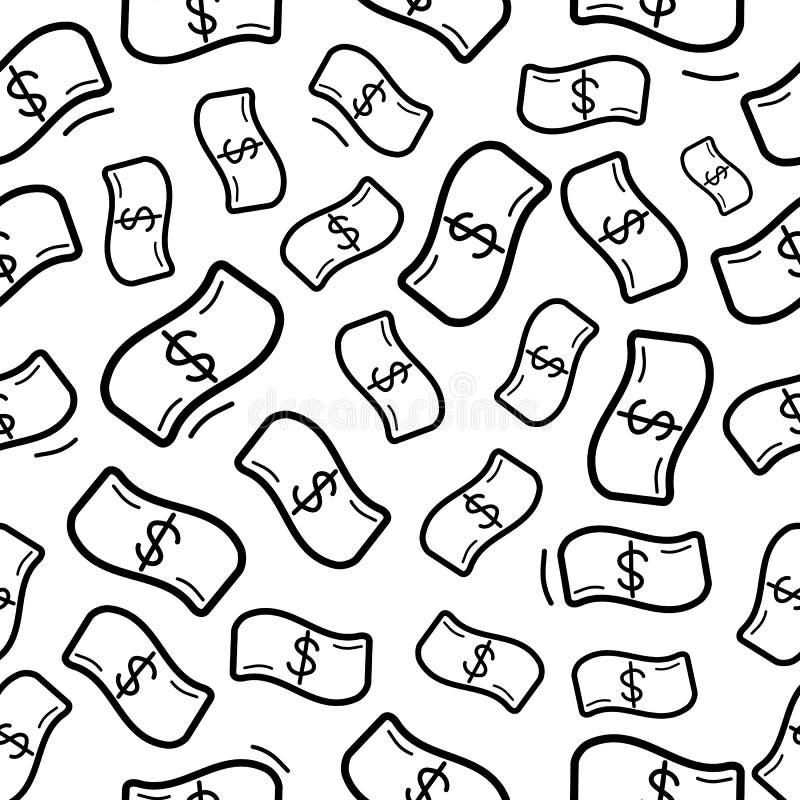 Bezszwowy wzór z śmiesznym doodle pieniądze deszczem ilustracja wektor