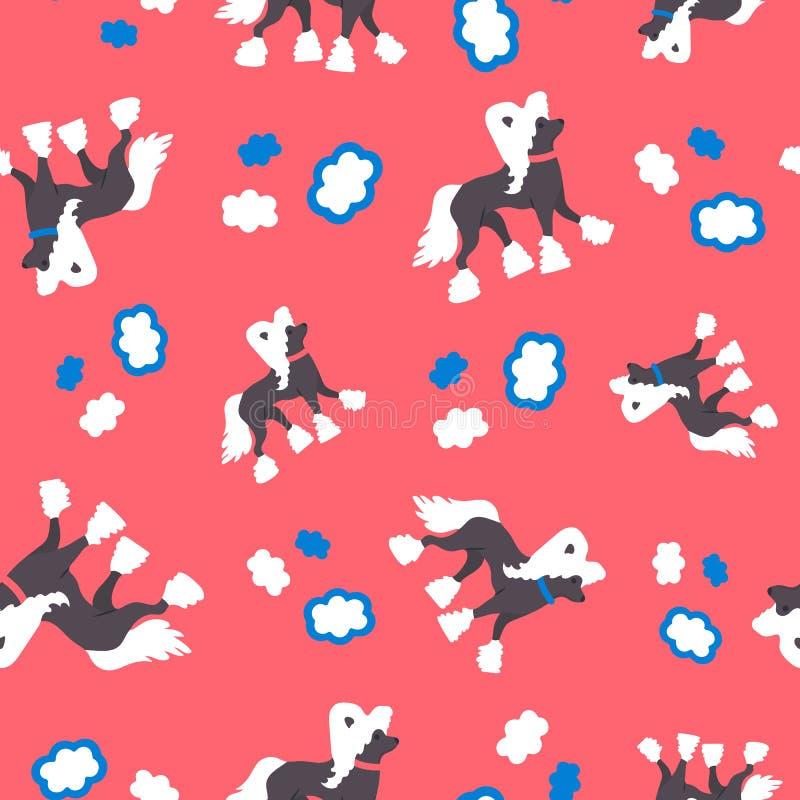 Bezszwowy wzór z śmiesznym kreskówka chińczykiem czubatym Prosty tło z psem royalty ilustracja