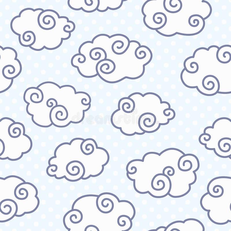 Bezszwowy wzór z śmiesznymi chmurami na kropkowanym bławym tle ilustracja wektor