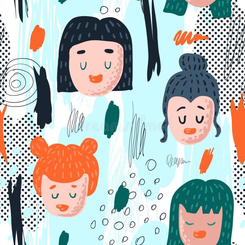 Bezszwowy wzór z Śmiesznymi dziewczyn twarzami Ręka Rysujący Dziecięcy tło z Abstrakcjonistycznymi elementami dla tkaniny tkaniny ilustracji