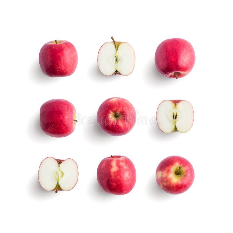 Bezszwowy wzór z świeżą owoc Świeży czerwony jabłko odizolowywający na w obrazy royalty free