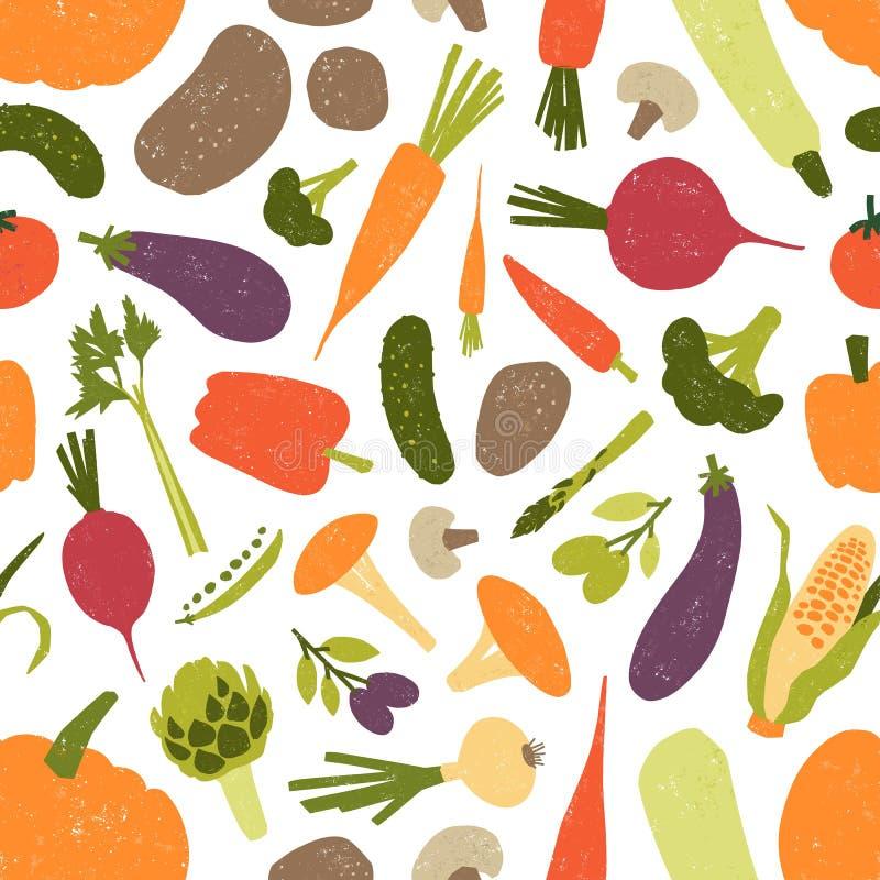 Bezszwowy wzór z świeżymi smakowitymi organicznie warzywami i pieczarkami na białym tle Tło z jarskim jedzeniem ilustracja wektor