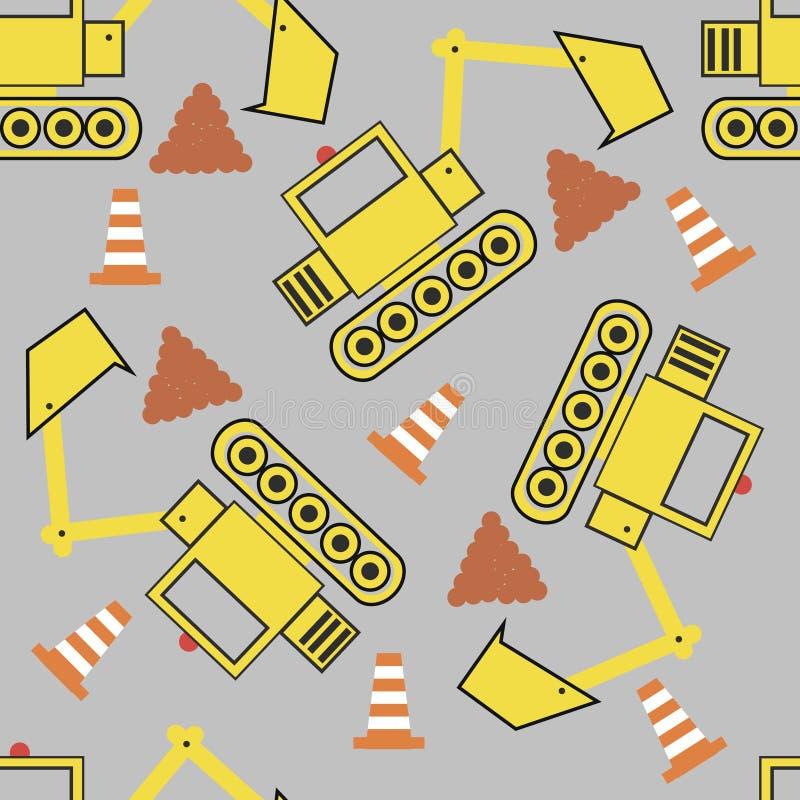 Bezszwowy wzór z żółtym dużym buldożerem zdjęcia stock