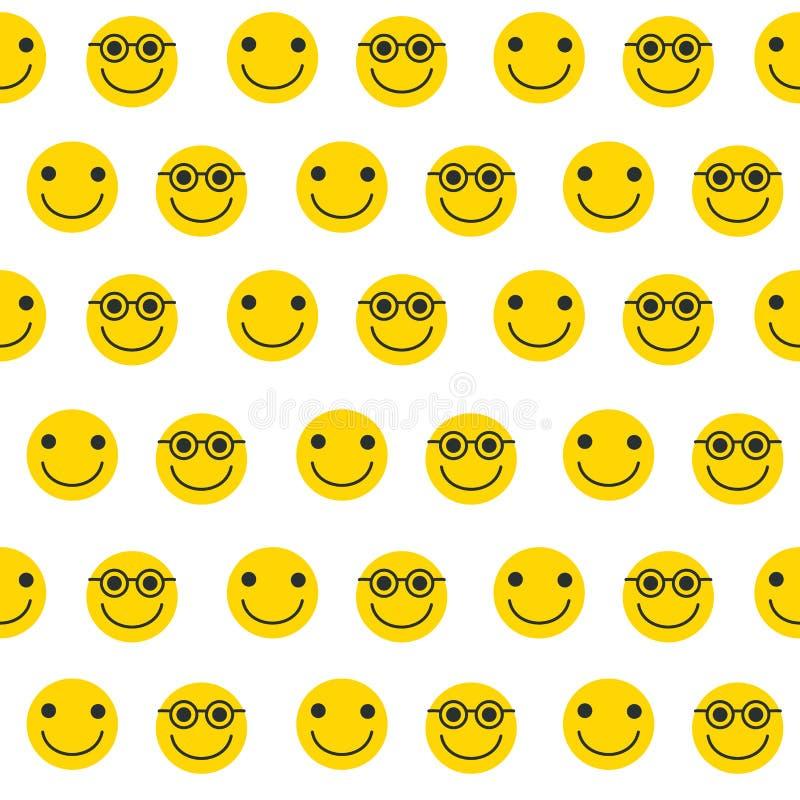 Bezszwowy wzór z żółtymi emoticons ilustracja wektor
