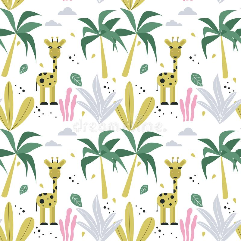 Bezszwowy wzór z żyrafą i drzewkami palmowymi 10 t?o projekta eps techniki wektor royalty ilustracja