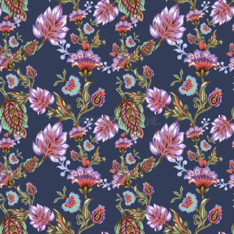 Bezszwowy wzór z abstrakcjonistyczną fantazją kwitnie i liście Paisley lub adamaszek akwareli jacobean stylowy guasz ilustracji