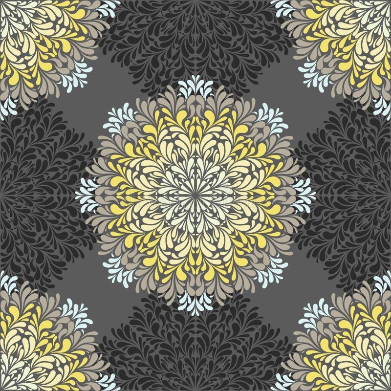 Bezszwowy wzór z abstrakcjonistycznymi elementami, adamaszek płytki ilustracji