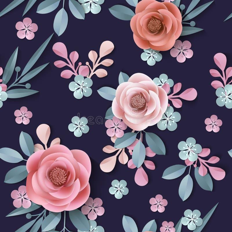 Bezszwowy wzór z abstrakcjonistycznymi papierowymi kwiatami, kwiecisty tło royalty ilustracja