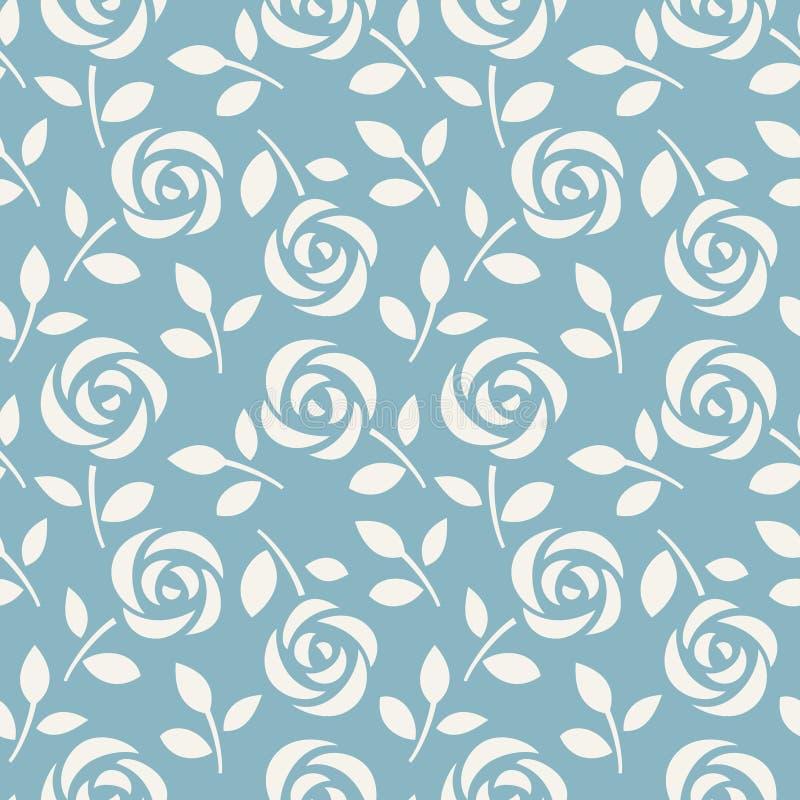 Bezszwowy wzór z abstrakcjonistycznymi różami na błękitnym tle również zwrócić corel ilustracji wektora Tapeta z ślicznymi kwiata royalty ilustracja