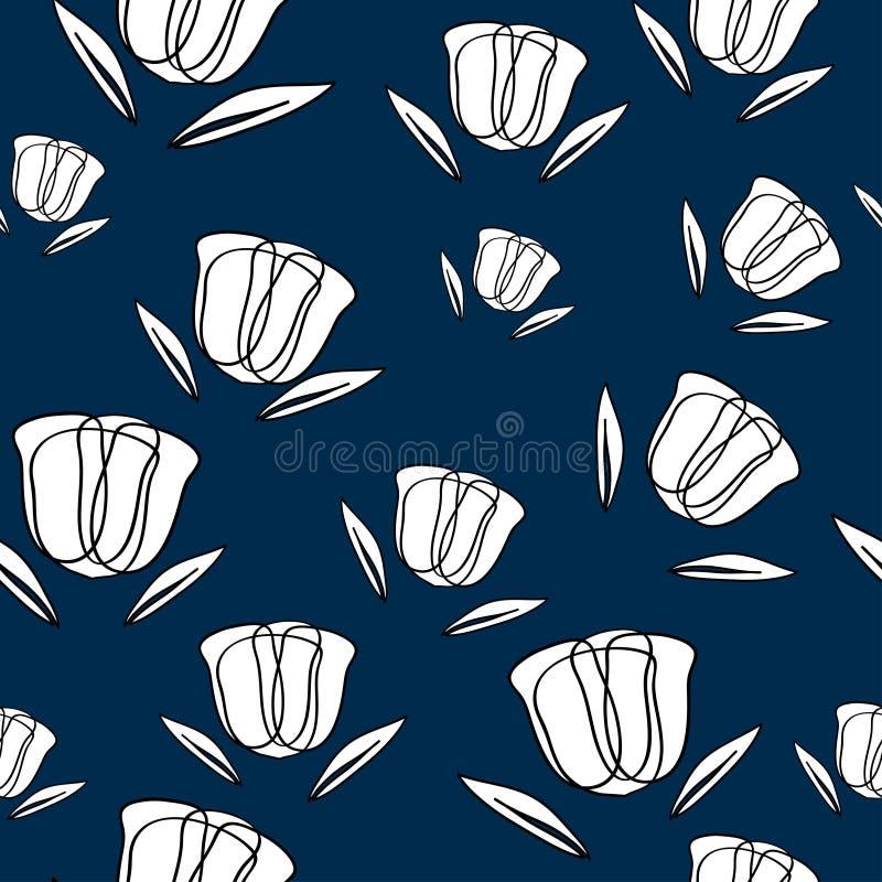 Bezszwowy wzór Z Abstrakcjonistycznymi tulipanami royalty ilustracja