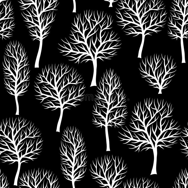 Bezszwowy wzór z abstraktów stylizowanymi drzewami Naturalny tło białe sylwetki royalty ilustracja