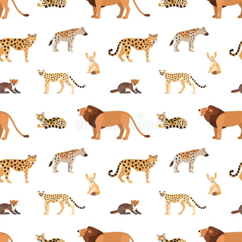 Bezszwowy wzór z Afrykańskimi i Amerykańskimi zwierzętami na białym tle Tło z dzikimi drapieżnikami żyje w sawannie ilustracja wektor