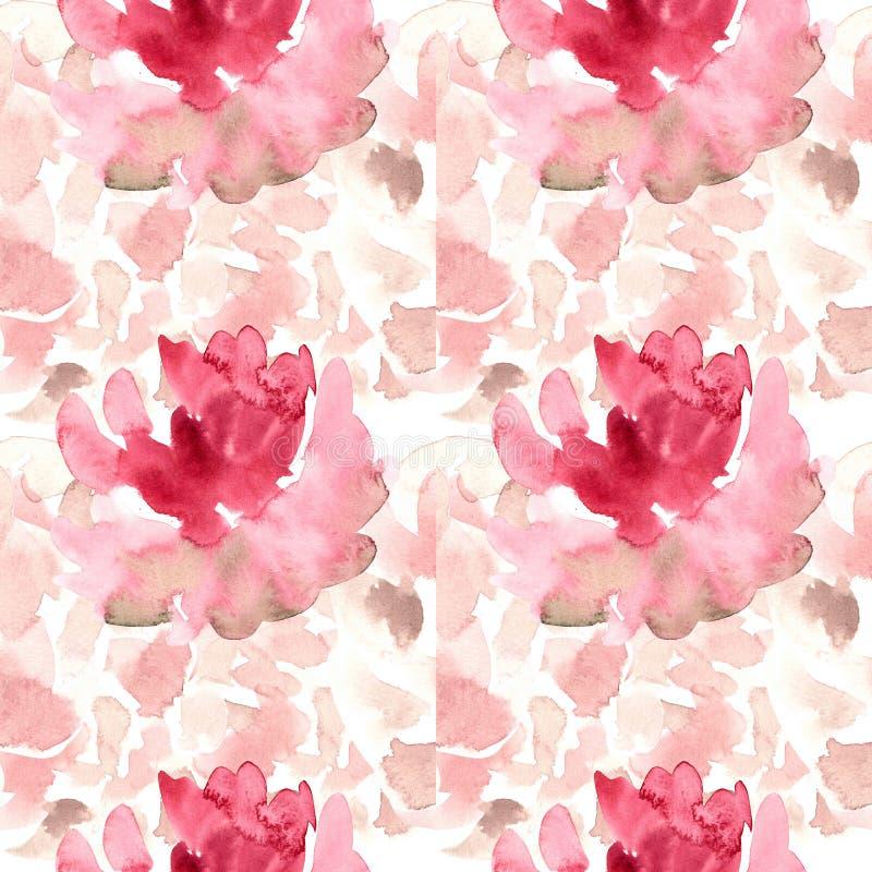 Bezszwowy wzór z akwarelą kwitnie, róże, peonie ilustracja wektor