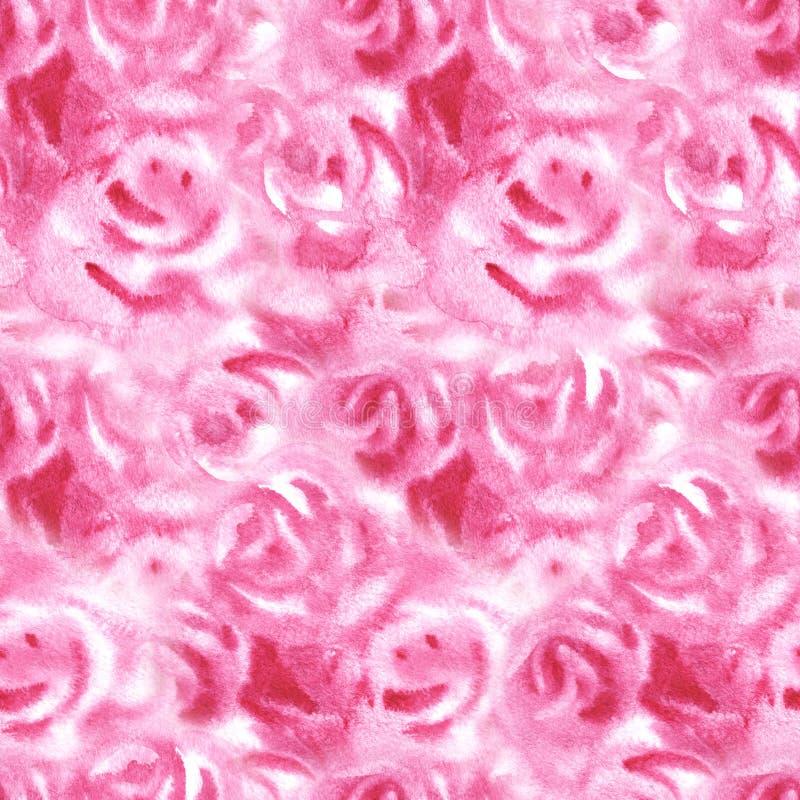 Bezszwowy wzór z akwarelą ustawiającą róże moda druk Nawierzchniowy projekt sztuka rysuj?cy r?ki ilustracyjny n natury ure ilustracji