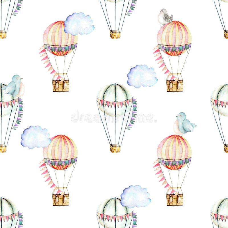 Bezszwowy wzór z akwarela świątecznymi lotniczymi balonami, chmurami i ślicznymi ptakami, ilustracja wektor