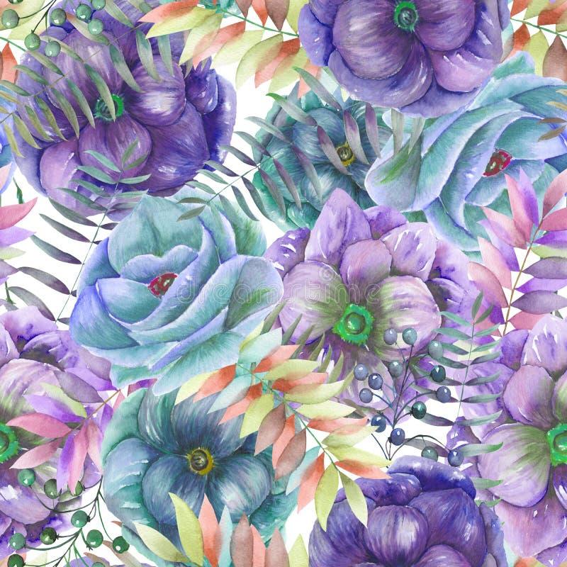 Bezszwowy wzór z akwarela anemonem kwitnie, opuszcza i rozgałęzia się, paproć, royalty ilustracja