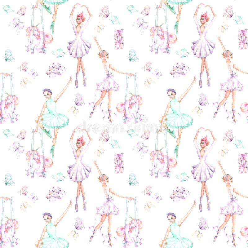 Bezszwowy wzór z akwarela baletniczymi tancerzami, kukiełkowymi jednorożec, motylami i pointe butami, royalty ilustracja