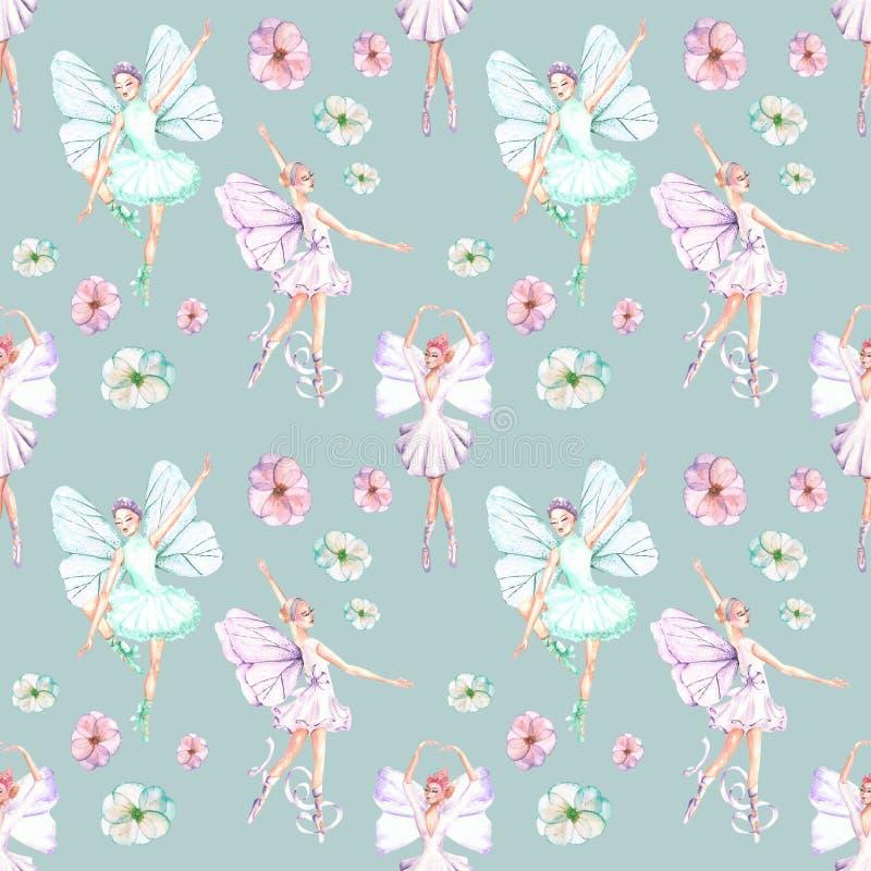 Bezszwowy wzór z akwarela baletniczymi tancerzami z motylem uskrzydla i kwitnie royalty ilustracja