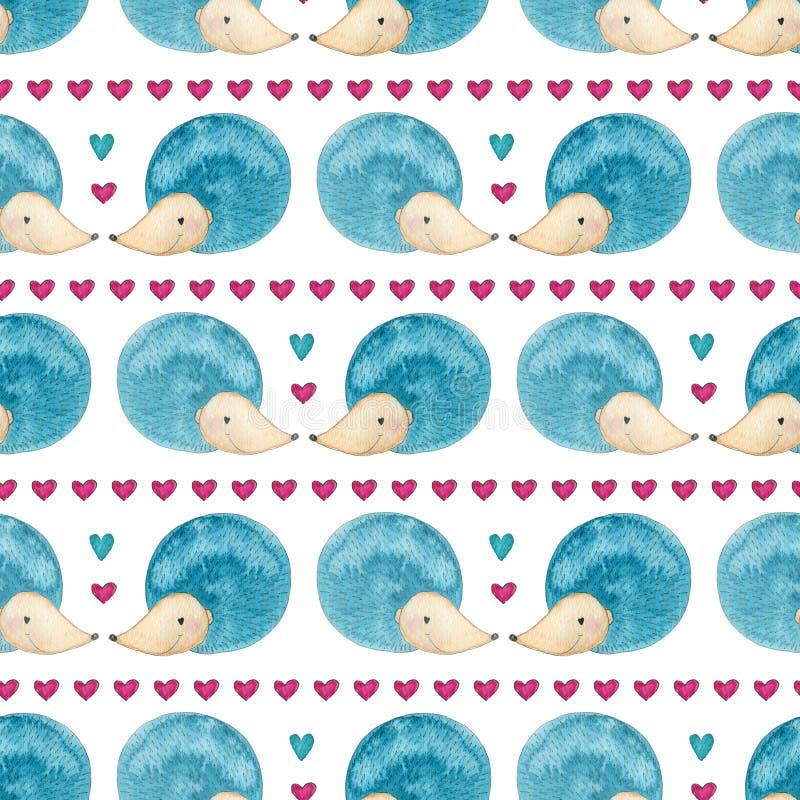 Bezszwowy wzór z akwarela jeżami Tło w menchiach i błękitów kolorach Tkaniny lub opakowania projekt ilustracji