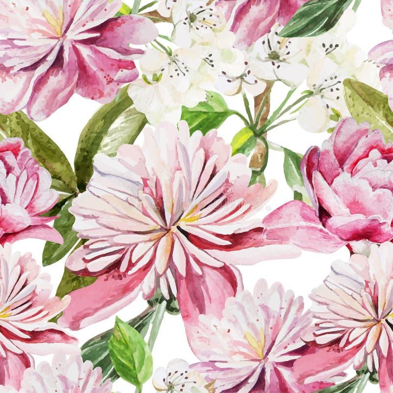 Bezszwowy wzór z akwarela kwiatami peonie ilustracji